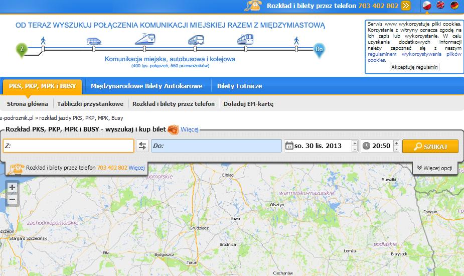 Поиск маршрутов по Польше
