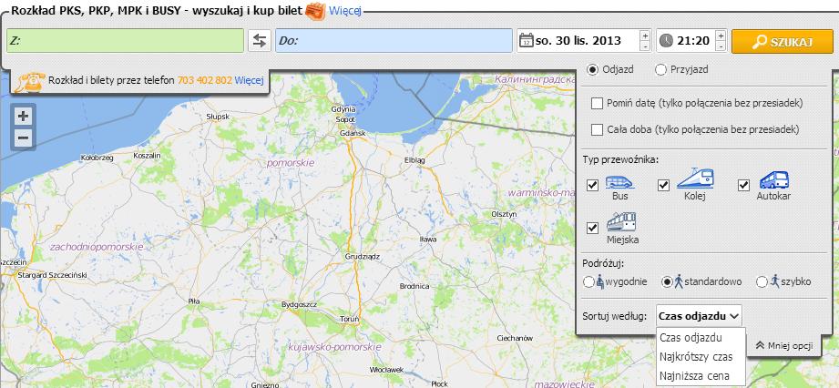 Поиск маршрутов по Польше - расширенный выбор способа проезда