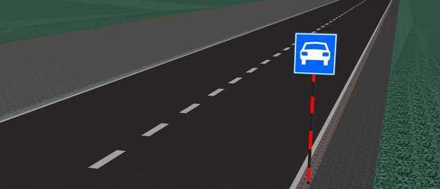 Двухполосная скоростная дорога с разделительной полосой в Польше