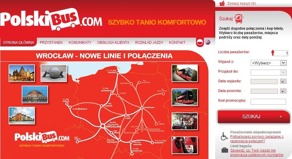 Главная страница польского перевозчика polskibus
