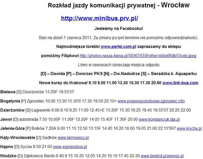 Расписание маршруток по Польше