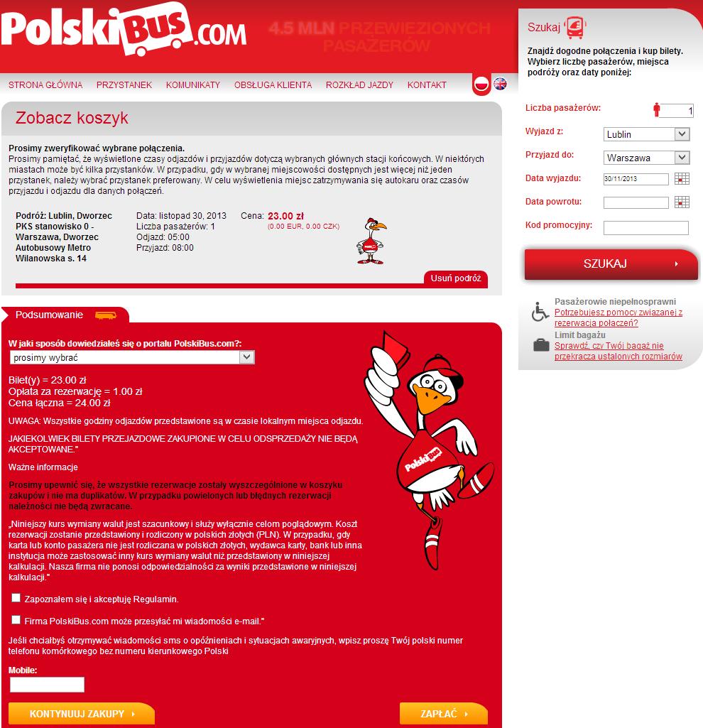 В корзине польского перевозчика PolskiBus