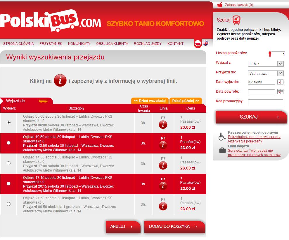 Выбор рейса для путешествия по Польше