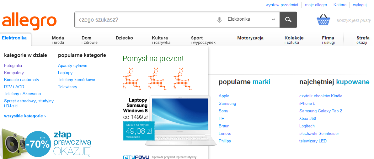 Главная страница раздела электроника польского аукциона аллегро